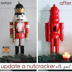 Update your tired and worn out holiday decor with spray paint. Pick up some nutcrackers at the dollar store for a whole display.