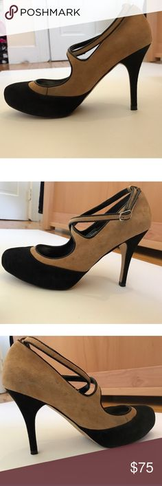 WHBM Strappy Heels Adorable suede tan and black strappy heels by White House Black Market. Color blocks and cross front straps give them a vintagey feel. In perfect condition. Silver on the inside. Leather. Perfect for spring, summer, and fall White House Black Market Shoes Heels