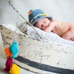 Baby Boy Fishing Hat  - Photography Prop Newborn - 12 Months on Etsy, $15.00