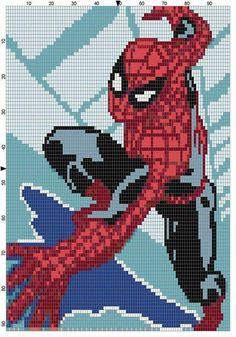 Wall climbing Spiderman x-stitch Marvel Cross Stitch, Modele Pixel Art, Pix Art, Pixel Art Templates, Graph Paper Art, Pixel Crochet, Stitch Cartoon, Minecraft Pixel Art, C2c