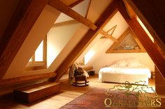 Oak framed ceiling and bespoke trusses used to provide more space.