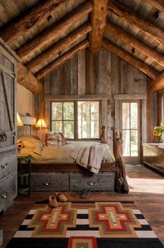 I would live in the woods if I could live in a cabin like this!