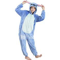 Kigurumi Pajamas Cartoon Leotard/Onesie Festival/Holiday Animal Sleepwear Halloween Blue Patchwork FlannelCosplay Costumes Halloween 2017 - $22.99