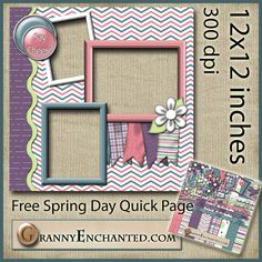 Free Spring Day Digital Scrapbook Quick Page Left ***Join 1,880 people. Follow our Free Digital Scrapbook Board. New Freebies every day.