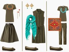 A capsule wardrobe of Olive Outfits with Accessories in Brown, Lacy Gold and Turquoise with Coral