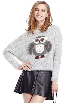 ROMWE | Owl With Furry Wings Grey Jumper, The Latest Street Fashion