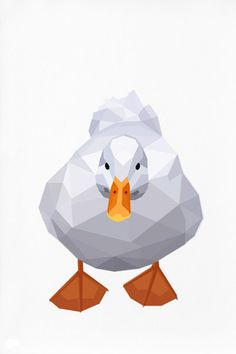 Geometric illustration, White Duck, Bird print, Original illustration