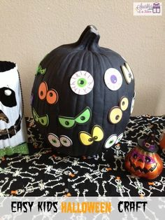 Pumpkin Decoration with Spooky Eyes Paper Crafts.