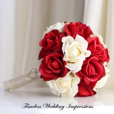 Valentines Wedding Bouquet Red Roses Heart by TimelessWedding, $135.00