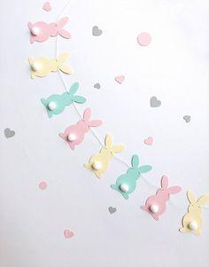 Pastel Bunny Easter Garland Rabbit Garland Bunny Baby Shower Birthday Pink Yellow Aqua Bunny Banner Easter Decorations Spring Home Decor, Diy Abschnitt, Bunny Party, Easter Party, Easter Crafts, Crafts For Kids, Bunny Crafts, Art Origami, Diy Osterschmuck, Easter Garland, Birthday Garland