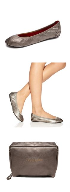 Elegantly simple and chic, these silver ballet pumps are the perfect finishing touch to any outfit.