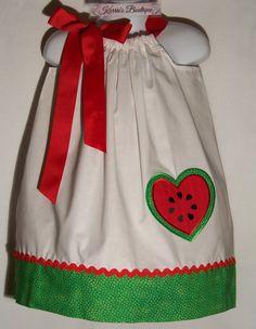 Watermelon Pillowcase Dress / Heart / Red / por KarriesBoutique, $29.95