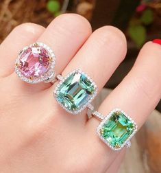 New arrival. pink tourmaline ring,emerald cut green tourmaline ring,and Copper tourmaline ring. Emerald Cut Rings, Aquamarine Rings, Unusual Rings, Unusual Jewelry, Pink Tourmaline Ring, Wedding Ring Styles, Gemstone Engagement Rings, Turquoise Rings, Gemstone Jewelry
