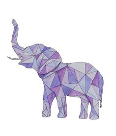 This is a geometric elephant made with watercolor