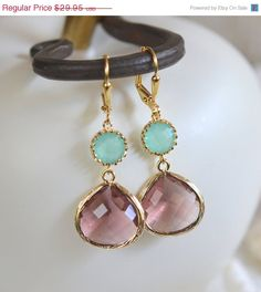 CYBER MONDAY SALE Minty Aqua and Plum Dangle Earrings. Jewel Bridesmaid Earrings. Bridal Drop Earrings. Gold Fashion Earrings. Christmas Gif