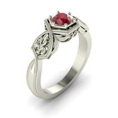 Round Ruby Ring in 14k White Gold