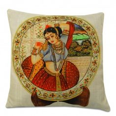 White Cushion Cover: Square Pillow Case With Digital Print.