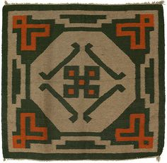 "Gustav Stickley drugget rug, attribution, c. 1910, geometric design in orange and green on an oatmeal field, some wear, 48"" x 50"""