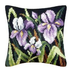 Orchidea Purple Irises Pillow Cover Needlepoint Kit