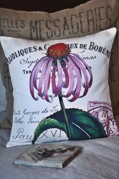 French Flower Cotton and Burlap Pillow Cover Burlap Pillows, Cute Pillows, Decorative Pillows, Throw Pillows, French Flowers, Fabric Animals, Unique Furniture, Accent Furniture, Breakfast In Bed