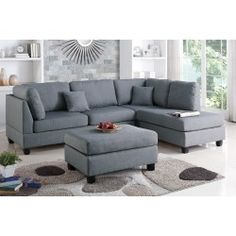 Poundex 3-Pcs Sectional Set F7608 Description : Experience simplicity with this 3-piece sectional with a matching ottoman. Upholstered in a plush linen-like fabric, this sectional features cushioned p