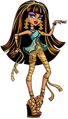 Monster High: Cleo de Nile! Cleo de Nile is the daughter of the Mummy. She is the fearleading squad captain and is considered to be a mean girl, but she does have a heart of gold that all those close to her can attest to. Her pet is a snake named Hissette. She is also dating Deuce Gorgon.