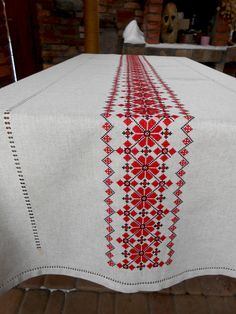 Embroidered tablecloth Red and blakc Ethnic linen tablecloth Folk art table cover Restangle table cl Monogram Cross Stitch, Cross Stitch Geometric, Cross Stitch Borders, Cross Stitch Flowers, Cross Stitch Charts, Cross Stitch Designs, Cross Stitch Embroidery, Cross Stitch Patterns, Crochet Bedspread