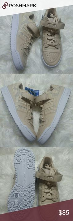 more photos f77f5 9fa61 NWT Adidas Forum Beige Snakeskin Textured Sneakers Adidas Forum Sneakers -  new with box - linen