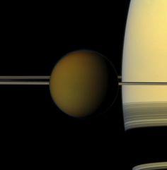 Saturn and its moon Titan.