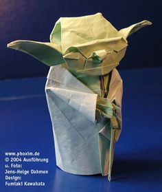 folding a yoda from ( recycled paper )  like Manchu Candidate  said, Try not. Fold... or Fold not. There is no try.  http://www.spitenet.com/origami/pdf/Yoda-JediMaster.pdf