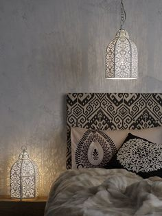 headboard covered in fabric Black and White Moroccan Bedroom.