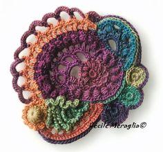 Art Au Crochet, Crochet Motifs, Crochet Blocks, Crochet Flower Patterns, Freeform Crochet, Love Crochet, Irish Crochet, Crochet Flowers, Crochet Stitches