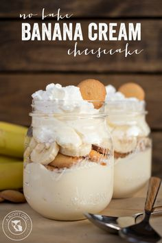 No Bake Banana Cream Cheesecake, Desserts, No Bake Banana Cream Cheesecake - a delicious no-fuss, easy dessert that will have you enjoying your favorite Banana Cream Pie flavors in just minutes. No Bake Pumpkin Cheesecake, Banana Pudding Cheesecake, Baked Cheesecake Recipe, Homemade Cheesecake, Pudding Cake, Cheesecake Cake, Cheesecake Squares, Cheesecake Bites, Strawberry Cheesecake