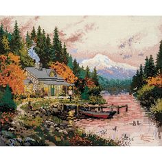 MCG Textiles Thomas Kinkade The End Of A Perfect Day Counted Cross Stitch kit
