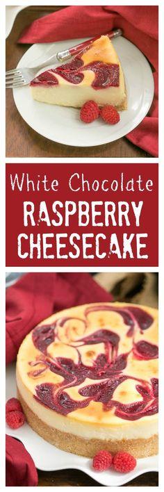 White Chocolate Raspberry Swirl Cheesecake | A luscious White Chocolate Cheesecake with a marbleized raspberry topping /lizzydo/