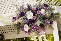 Wedding flowers for the gazebo in lavenders, purples, light blues and a touch of white. www.ThirdBloom.com