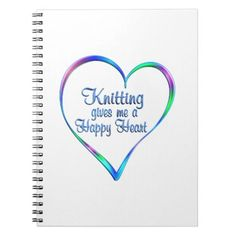 #Knitting Happy Heart Spiral Notebook - #knitting #gifts
