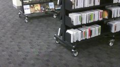Camberwell public library - shelves on wheels. Those are the GOOD professional wheels too.