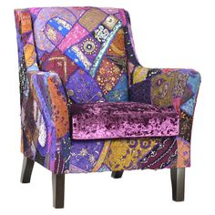 Arm chair with multicolor patchwork upholstery and wood frame. Product: Arm chairConstruction Material: Wood and fabricColor: MultiDimensions: 36 H x 32 W x 32 D Upholstery Repair, Upholstered Furniture, Velvet Furniture, Upholstery Tacks, Upholstery Cushions, Upholstery Cleaner, Patchwork Chair, Love Chair, Funky Furniture