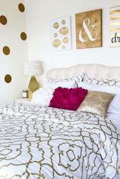 For die hard horoscope believers, it is worth looking into how your zodiac sign influences how you decorate your dorm room this semester! Quatrefoil Bedding, Gold Bedroom, Bedroom Decor Glam, College Bedroom Decor, Dorm Room Themes, Gold Room Decor, Pretty Bedroom, White Bedroom, Gold Rooms