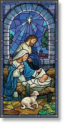 Nativity Scene Christmas Church Banner O Come Lord Jesus Canvas Double stitched hems with fused sides Vent in back allows poles to set attractively flush to one Stained Glass Church, Stained Glass Panels, Stained Glass Art, Fused Glass, Catholic Art, Religious Art, L'art Du Vitrail, Christmas Nativity Scene, Christmas Manger
