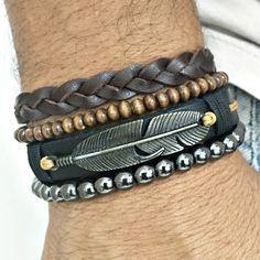 Kit 4 pulseiras masculinas couro trançado pena pedras hematita mens bracelets moda fashion homem style cocar brasil #men'sjewelry