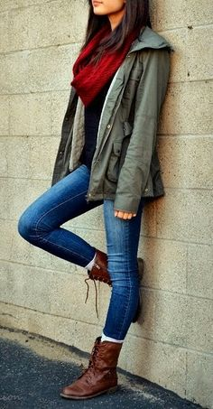 Very attractive street style fashion with jacket, boots and red scarf