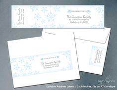 Winter Wonderland Editable Address Label Template by MyCrayonsPapeterie // Snowflake Wrap Around Address Labels