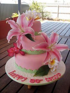 Mossy's Masterpiece - Tanya's 30th birthday Hawaiian cake by Mossy's Masterpiece cake/cupcake designs, via Flickr