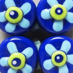 Laguna Flower Power PattiesHandmade Lampwork by BeadygirlBeads