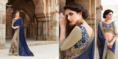 Blue chiffon and georgette with embroidery work party wear saree