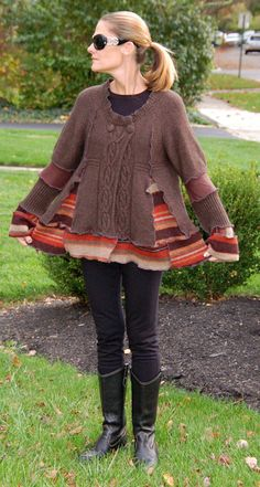 Recycled Sweater Coat Swing Style Brown Earth by archeologia