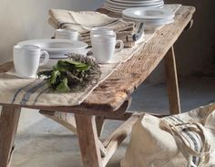 divine textures of Cote Bastide French grain sack table linen and vintage wood - The Paper Mulberry: Setting the Table French Farmhouse, Farmhouse Style, Farmhouse Bench, Farmhouse Decor, Interior Exterior, Interior Design, Paper Mulberry, Rustic Bench, Rustic Wood
