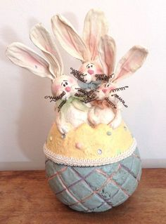 Honey and Me, Easter Egg with Bunnies, Candy Dish/Bowl #S11410 #HoneyandMe